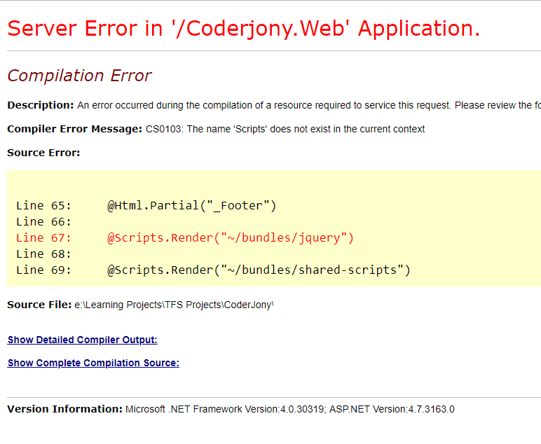 The name 'Scripts' does not exist in the current context - ASP.NET MVC Error