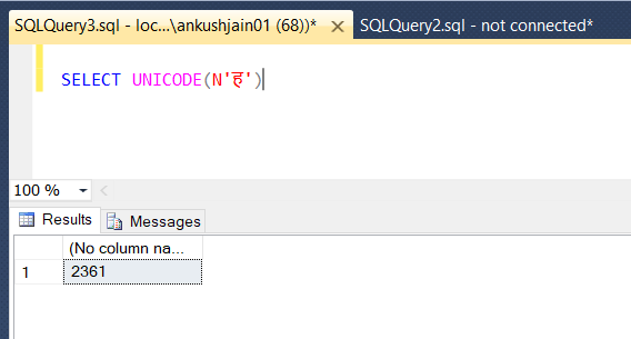 How to check code point value of a Unicode character in SQL Server?