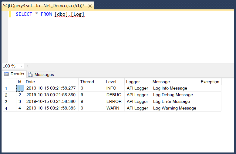 Integrating Log4Net with ASP.NET Web API2 and SQL Server