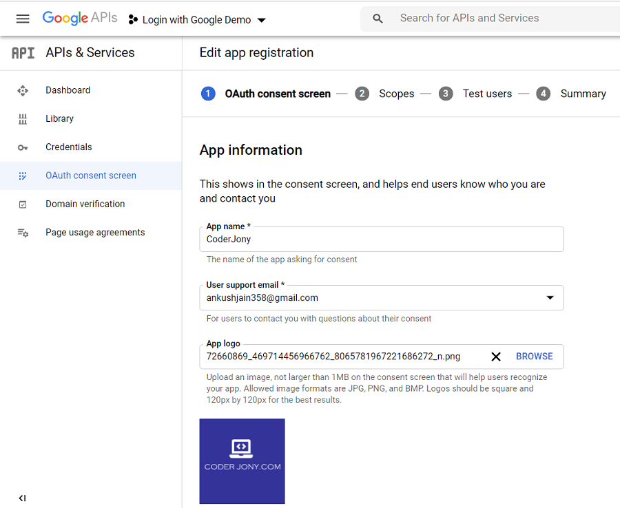 Register a Client application in Google to access Google APIs via OAuth 2.0