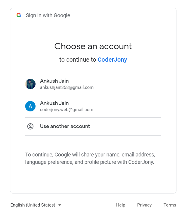 Authentication with Google Account using OpenID Connect